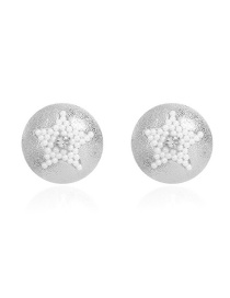 Fashion Silver Alloy Inlaid Pearl Five-pointed Star Earrings