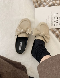 Fashion Apricot Baotou Flat Bow Half Slippers
