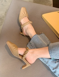 Fashion Khaki Square Head Thick High Heel With Half Slippers
