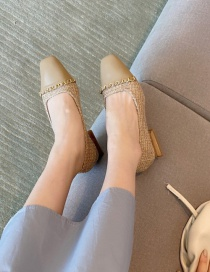 Fashion Khaki Stitching Contrast Chain Square Toe Mid-heel Shoes