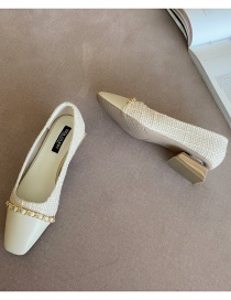 Fashion Apricot Stitching Contrast Chain Square Toe Mid-heel Shoes