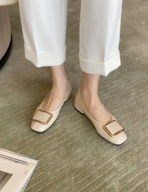 Fashion Apricot Flat Shoes With Square Toe And Metal Buckle