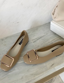 Fashion Khaki Flat Shoes With Square Toe And Metal Buckle