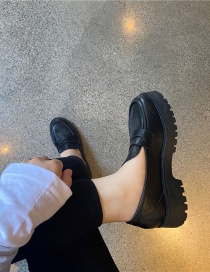 Fashion Black Round Toe Platform Platform Solid Color Shoes