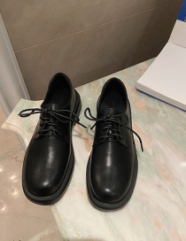 Fashion Black Low Heel Flat Round Toe Lace-up Small Leather Shoes