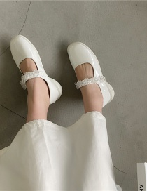 Fashion Apricot Shallow Square Toe Belt Buckle Small Leather Shoes