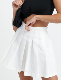 Fashion White Pleated Solid Color Skirt