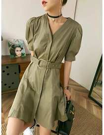 Fashion Army Green Three-dimensional Skirt V-neck Short Sleeve Dress
