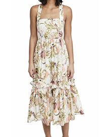 Fashion Off-white Floral Leaf Print Stitching Strap Dress