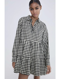 Fashion Black And White Grid Plaid Stitching Loose Dress