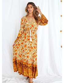 Fashion Orange V-neck Printed Waist Elastic Dress