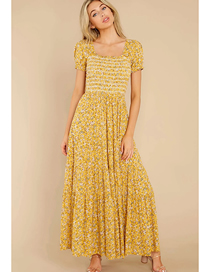 Fashion Yellow One-shoulder Printed Square Neck Dress