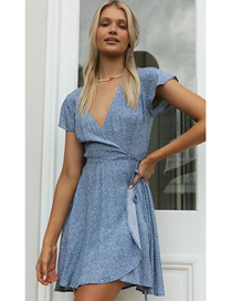 Fashion Blue Small Floral Print Belted V-neck Dress