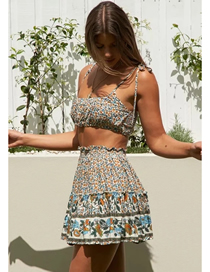 Fashion Brown Floral Tube Top Print Lace-up Tank Top Skirt Suit