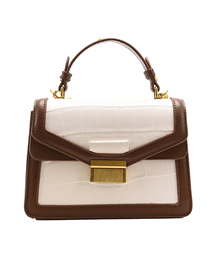 Fashion White With Brown Square Buckle Stone Pattern Shoulder Messenger Bag