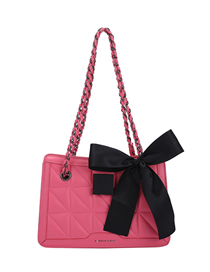 Fashion Dark Pink Large Capacity Bow Chain Crossbody Shoulder Bag