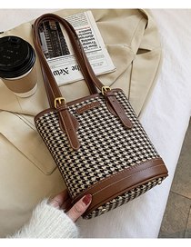 Fashion Brown Houndstooth Chain Diagonal Shoulder Bag