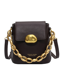 Fashion Brown Chain Gilded Letters One-shoulder Messenger Bag