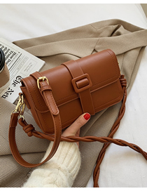 Fashion Brown Twisted Rope Shoulder Strap Flap Embroidery Thread Diagonal Shoulder Bag