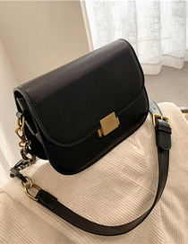 Fashion Black Solid Color Single Shoulder Crossbody Bag With Lock Flap