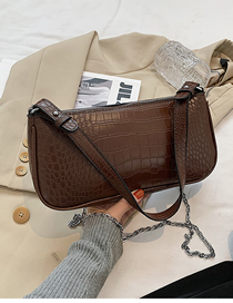 Fashion Coffee Color Crocodile Print Solid Color Shoulder Bag