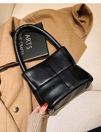 Fashion Black Square Solid Color Stitching Shoulder Bag
