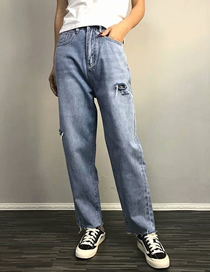 Fashion Blue Ripped Cropped Trousers Side Cut Raw Jeans