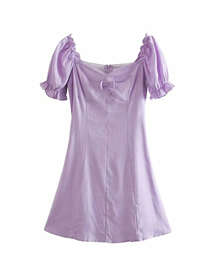 Fashion Purple Lace-up Short Sleeve Pullover Loose Dress