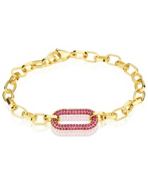 Fashion Gold Plated Red Zirconium Diamond Square Gold-plated Chain Square Bracelet