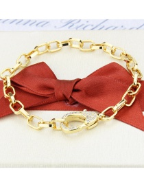 Fashion Gilded Gold-plated Chain Diamond Lobster Clasp Square Chain Bracelet