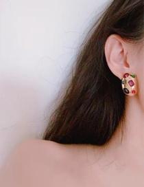 Fashion Color Mixing Diamond Alloy Geometric Earrings