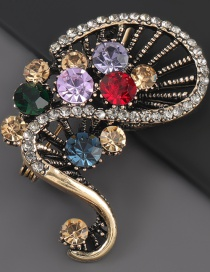Fashion Color Alloy Diamond Flower Contrast Brooch