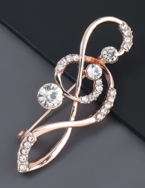 Fashion Note Alloy Diamond Tone Matches Gold Brooch