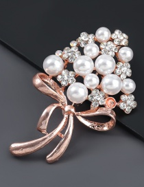 Fashion Rose Gold Alloy Diamond Pearl Flower Brooch
