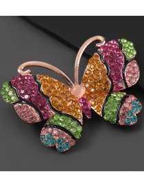 Fashion Color Alloy-studded Butterfly Brooch