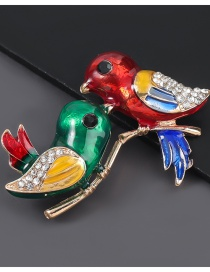 Fashion A Pair Of Birds A Pair Of Bird Brooches With Alloy Dripping And Diamonds