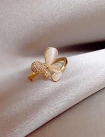 Fashion Golden Real Gold Plating Cat S Eye Butterfly Open Ring
