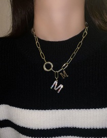 Fashion Golden Alloy Necklace With Diamond Letters