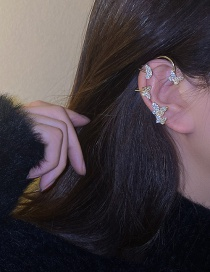 Fashion Golden Butterfly And Diamond Single Earring Without Pierced Ears