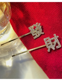 Fashion Golden Alloy Hairpin With Diamond And Rich Text