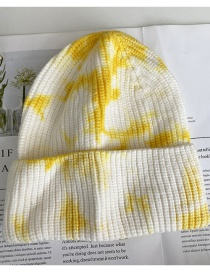 Fashion Yellow Tie-dye Curled Knit Hat