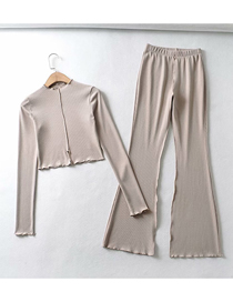 Fashion Oatmeal Ribbed Slim Short Cuffed Slit Top Flared Wide Leg Pants Set
