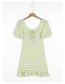 Fashion Green Check Print Lace Short Sleeve Dress