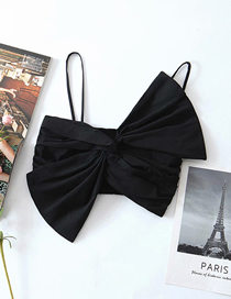 Fashion Black Bow Tie Sling Pleated Vest