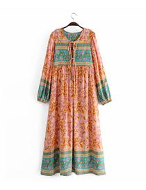 Fashion Orange Printed Lace Contrast Dress