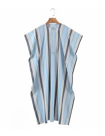 Fashion Blue Stripes Striped Print Short Sleeve Dress