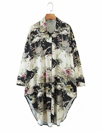 Fashion Flower Print Printed Irregular Opening Loose Shirt