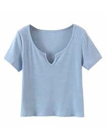 Fashion Blue V-neck Knitted Short Sleeve Top