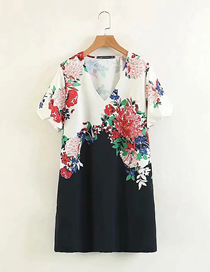 Fashion Colored Flowers Digital Printed V-neck Short Sleeve Dress