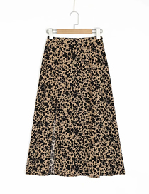 Fashion Khaki Leopard Slit Leopard Print Skirt